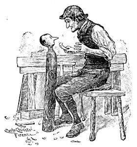 Geppetto costruisce Pinocchio, il burattino di legno famoso per le sue bugie (illustrazione tratta da Carlo Collodi, Le avventure di Pinocchio. Storia di un burattino, Libreria Editrice Felice Paggi, 1881).